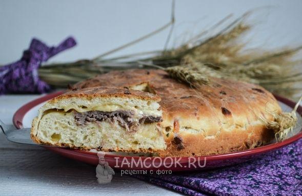 Пирог с сыром и мясом - пошаговые рецепты с фото